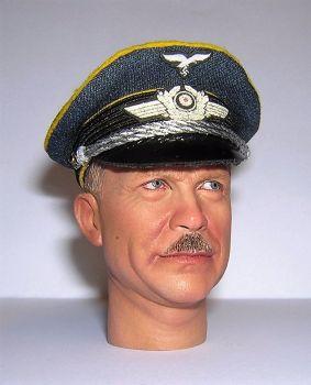 Banjoman custom made 1/6th Scale WW2 German Luftwaffe Blue Officer's Visor Cap.