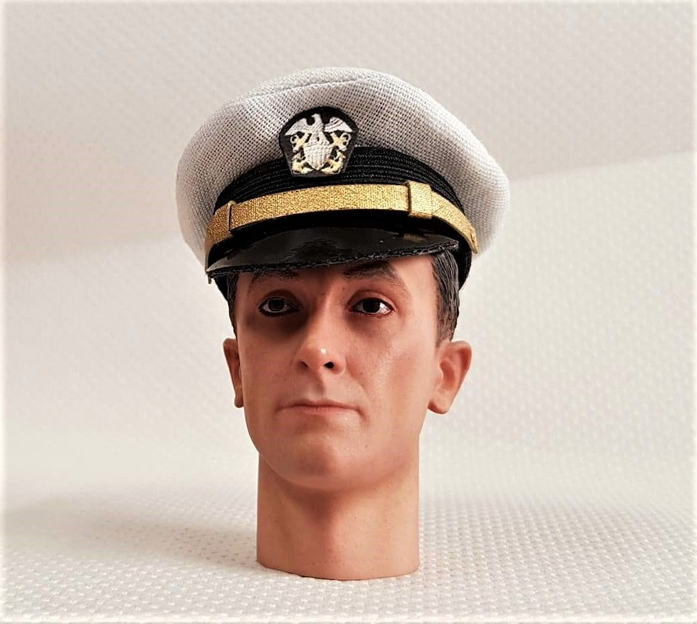 Banjoman custom made 1/6th Scale WW2 U.S. Navy Officer's White Cap.