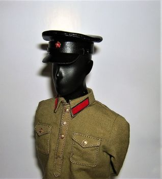 Banjoman custom made 1/6th Scale WW2 Soviet NKVD Black Leather Cap.