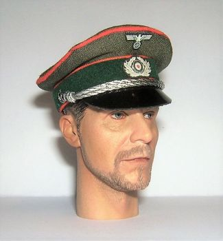 Banjoman custom made 1/6th Scale WW2 German Green Feldgendarmerie Officer's Visor Cap.