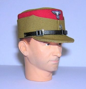 Banjoman custom made 1/6th Scale WW2 German S.A. Kepi - Khaki With Red Trim.