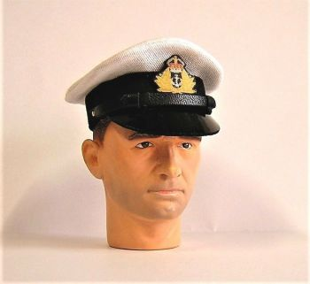 Banjoman 1:6 Scale Custom WW2 Royal Navy Officers Cap - White