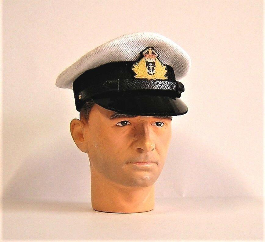 Banjoman 1:6 Scale Custom WW2 Royal Navy Officers Cap - White