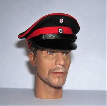 Banjoman 1:6 Scale Custom Made WW1 German Officer's Black / Red Visor Cap