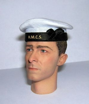 Banjoman 1:6 Scale Custom WW2 Canadian Royal Navy Seaman's Cap - White