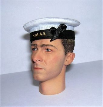 Banjoman 1:6 Scale Custom WW2 Australian Royal Navy Seaman's Cap - White