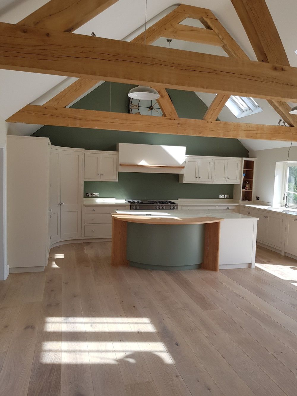 new kitchen with oak trusses