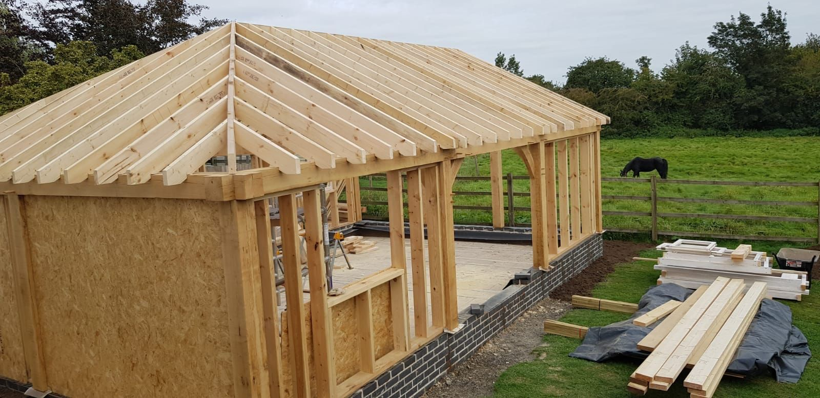Roof  rafters in place.