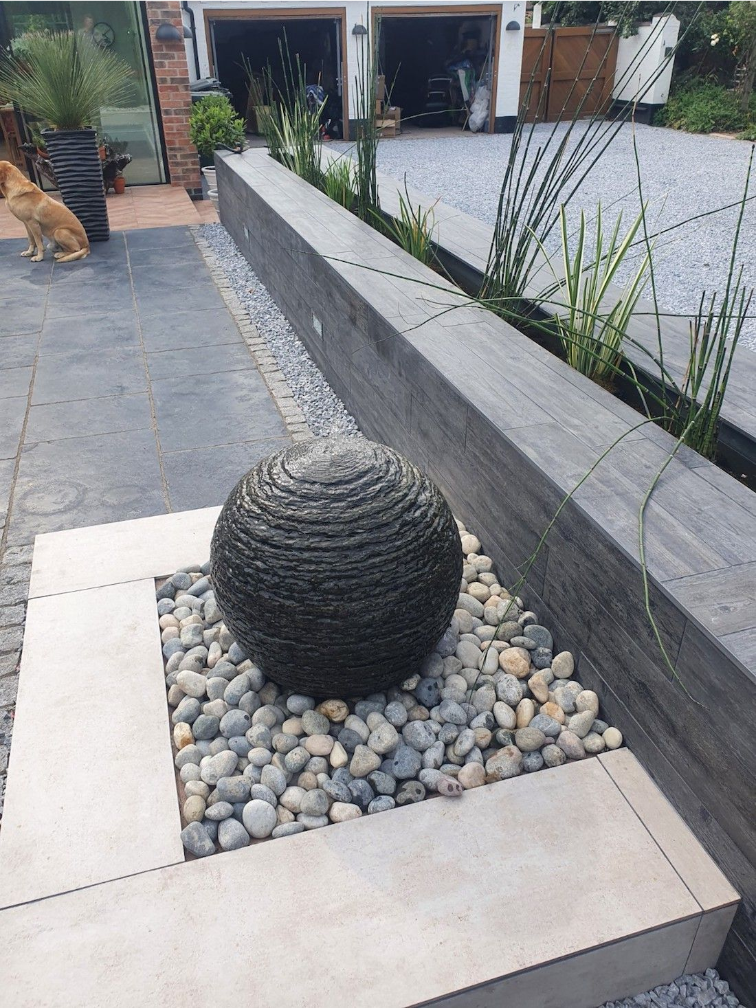 Completed Water Feature with Lighting