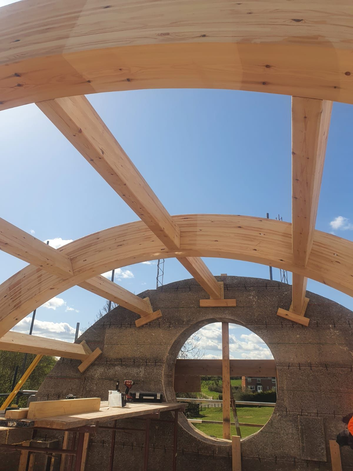 roof structure in place on Eco house
