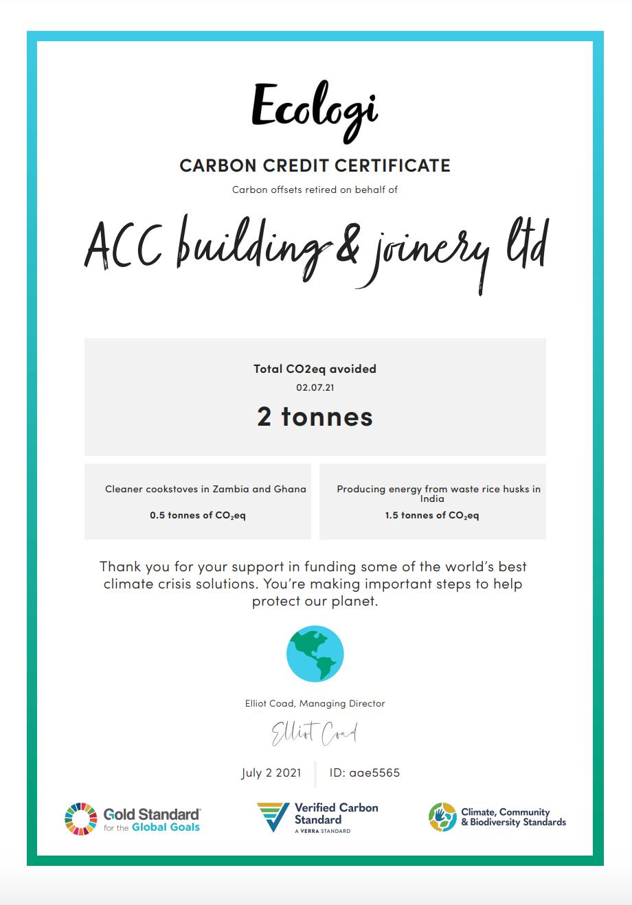 Ecologi July Certifiacte