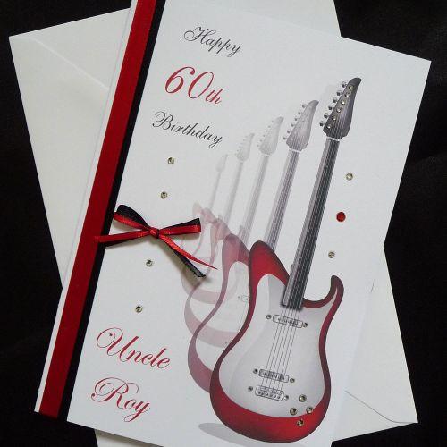 Electric Guitar Birthday Card Guitarist Handmade And Personalised
