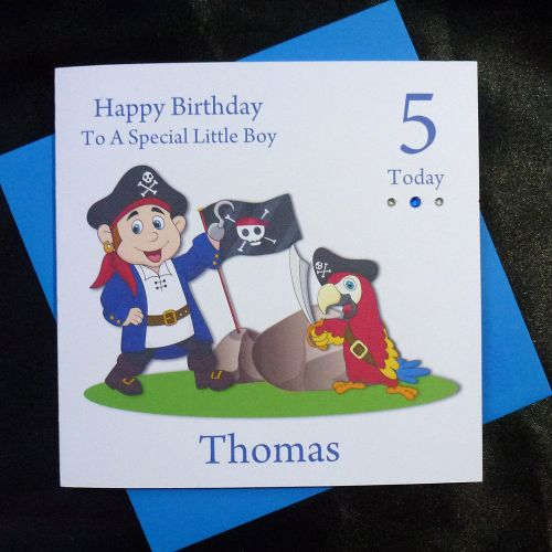 Boys Birthday Card Pirate And Parrot