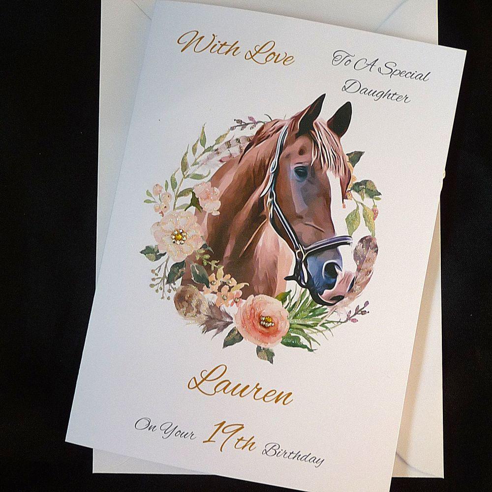 Personalised Birthday Card   Beautiful Horse and Garland
