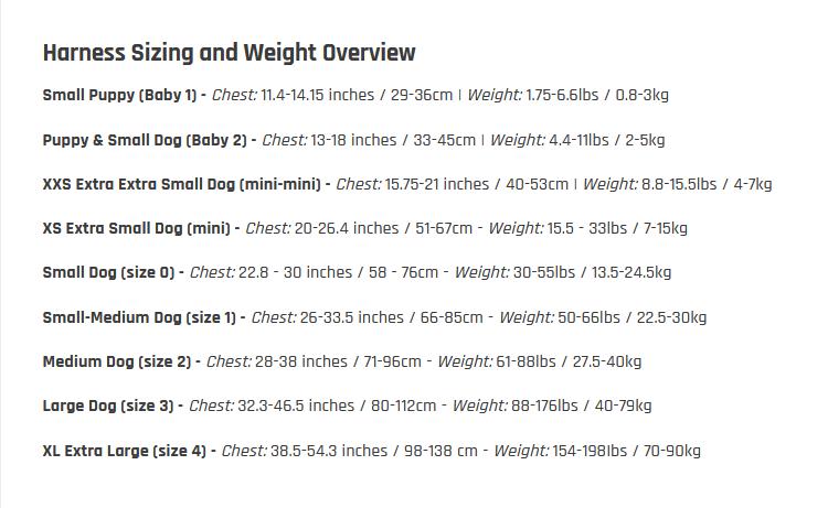 juliusk9 size chart