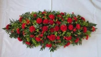 Spray - SP08 - Red Carnation Casket Spray