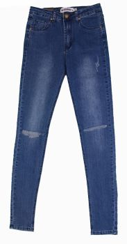 High Waist Rip Knee Jeans