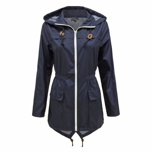 Navy Raincoat White Zip