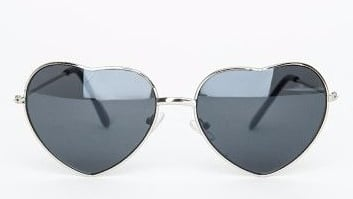 Silver Heart Frame Sunglasses