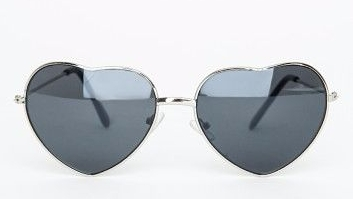 Silver Heart Frame Sunglasses