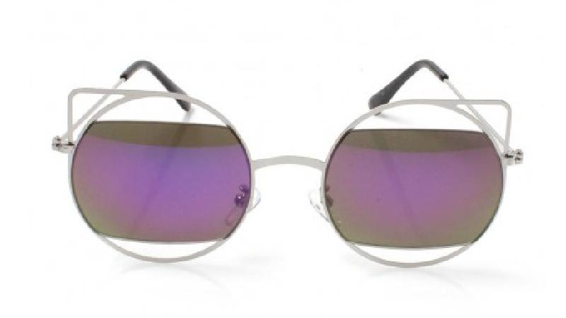 Cutout Cateye Purple Mirror Sunglasses