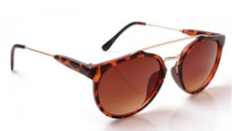 Leopard Print Aviator Sunglasses - Brown