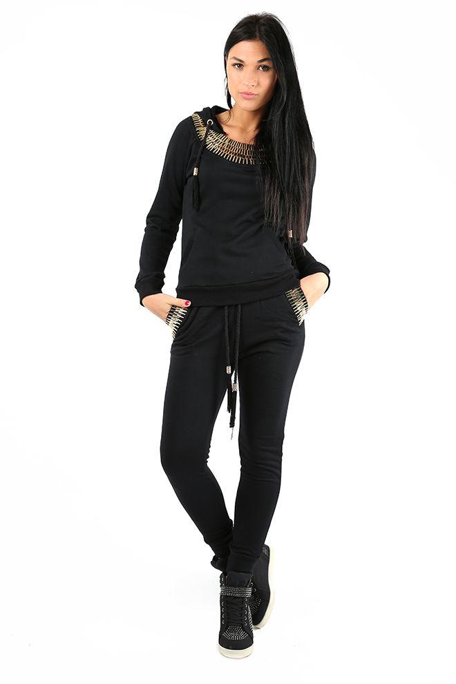 Black & Gold Jogger Loungewear Set