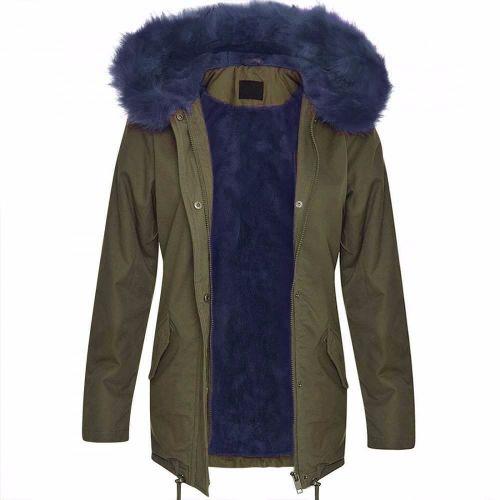 Brave Soul Panther Fur Hood Parka - Blue