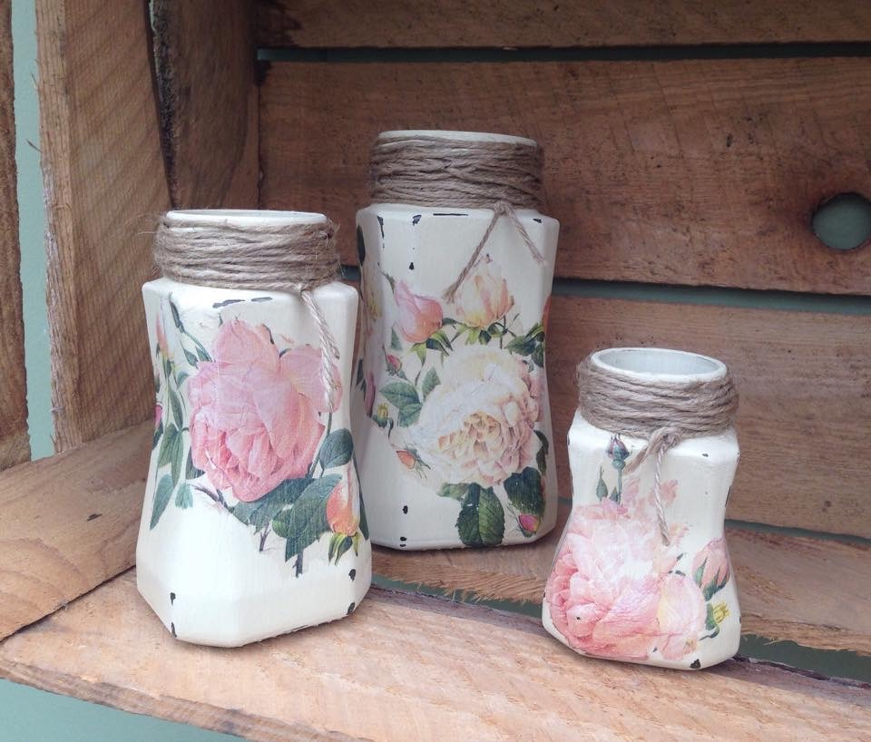 Recycling Jars with Decoupage