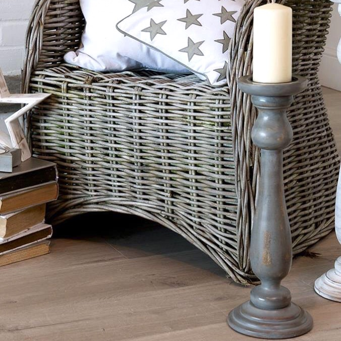 Medium Grey Wooden Candlestick