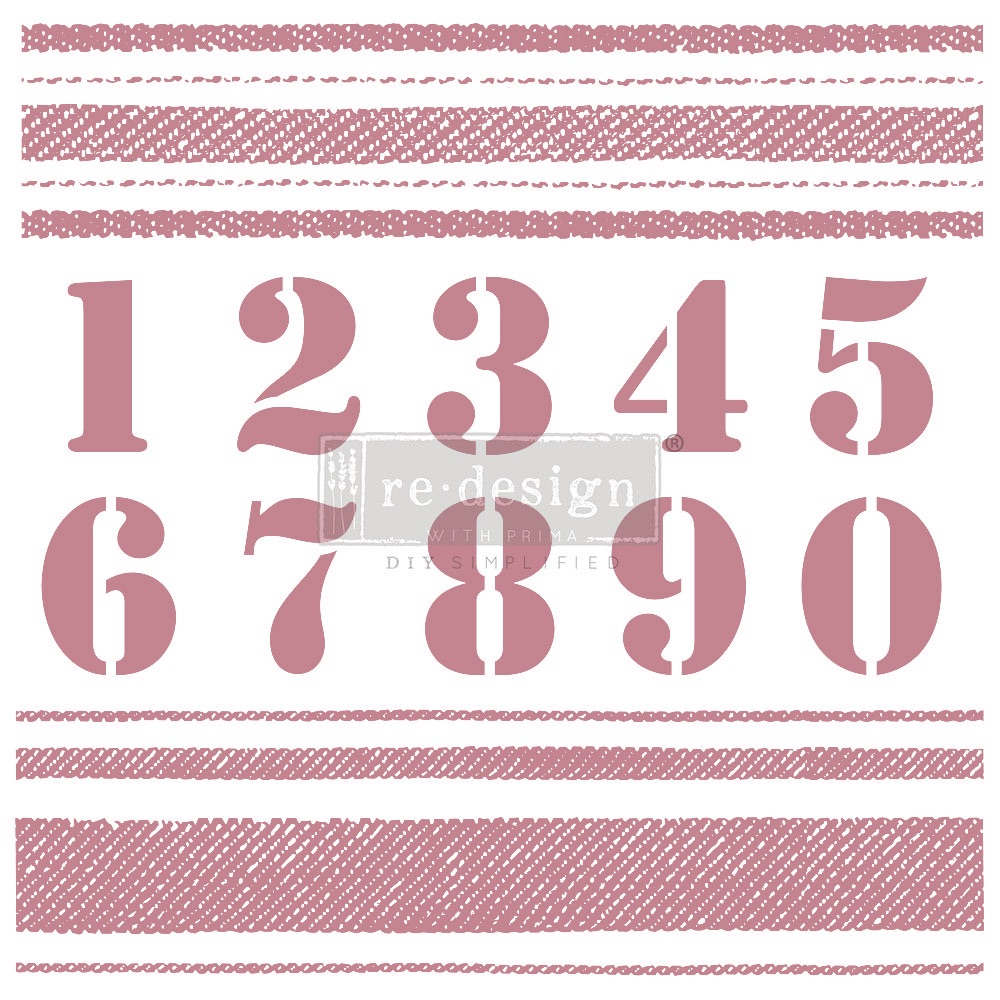 Decor Stamp - Stripes and Numbers