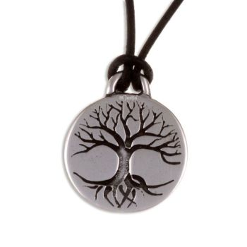 Tree of Life Disc Pendant on Leather Thong