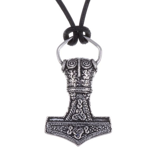 Thor's Hammer Amulet Pendant on Leather Thong