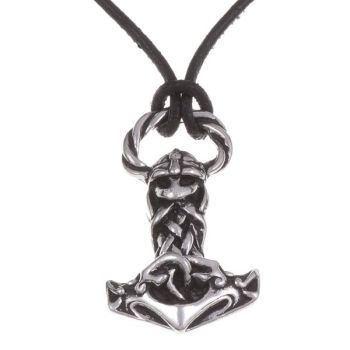 Thor's Hammer Viking Knotwork Pendant on Leather Thong by St Justin of Penzance