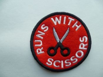 Patch - RUNS WITH SCISSORS. Embroidered sew-on patch