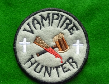 Patch - VAMPIRE HUNTER. Embroidered sew-on patch