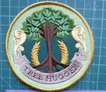 Patch - TREE HUGGER. Embroidered sew-on patch