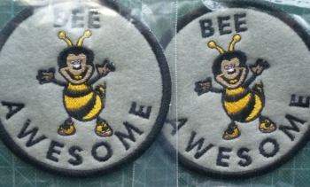 Patch - BEE AWESOME. Embroidered sew-on patch