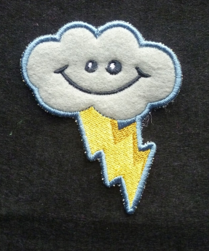 Patch - LIGHTENING CLOUD. Embroidered sew-on patch
