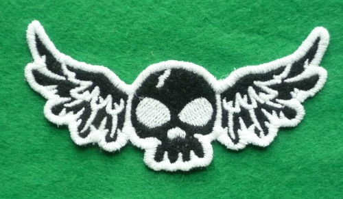 Patch - FLYING DEATH SKULL. Embroidered sew-on patch