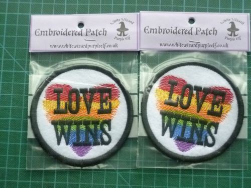 Patch - LOVE WINS. Embroidered sew-on patch