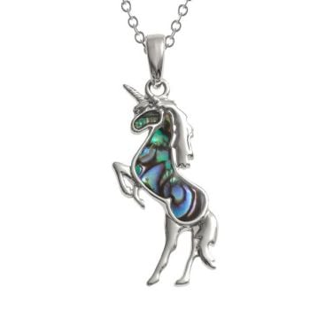 Iridescent Paua Shell Unicorn Pendant