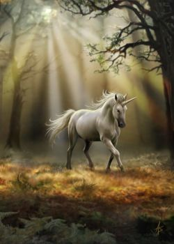 Glimpse of a Unicorn Greetings Card by Anne Stokes