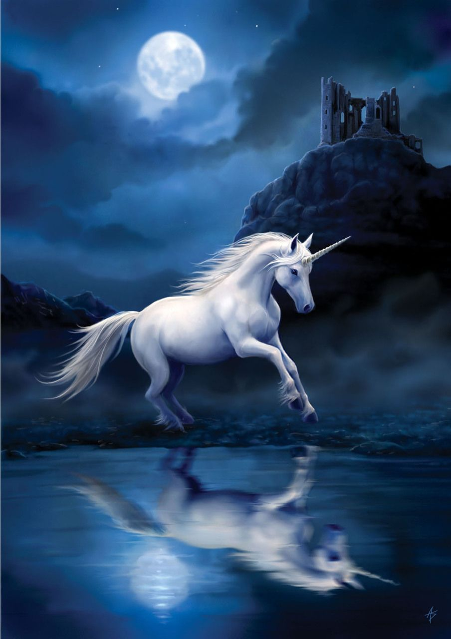 Moonlight Unicorn Greetings Card by Anne Stokes