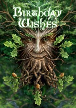 Oak King Birthday Card by Anne Stokes