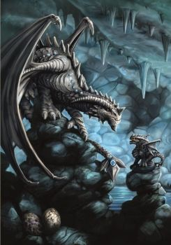 Rock Dragon Greetings Card by Anne Stokes