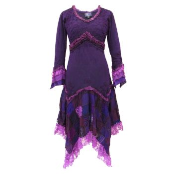 Long Boho Dress with Patchwork Skirt (PUR)