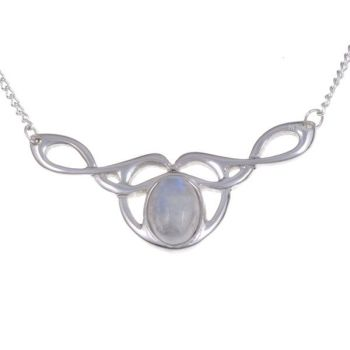 Bird Knot Necklace with Moonstone by St Justin of Penzance