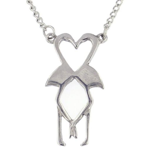 Flamingo heart necklace by St Justin of Penzance