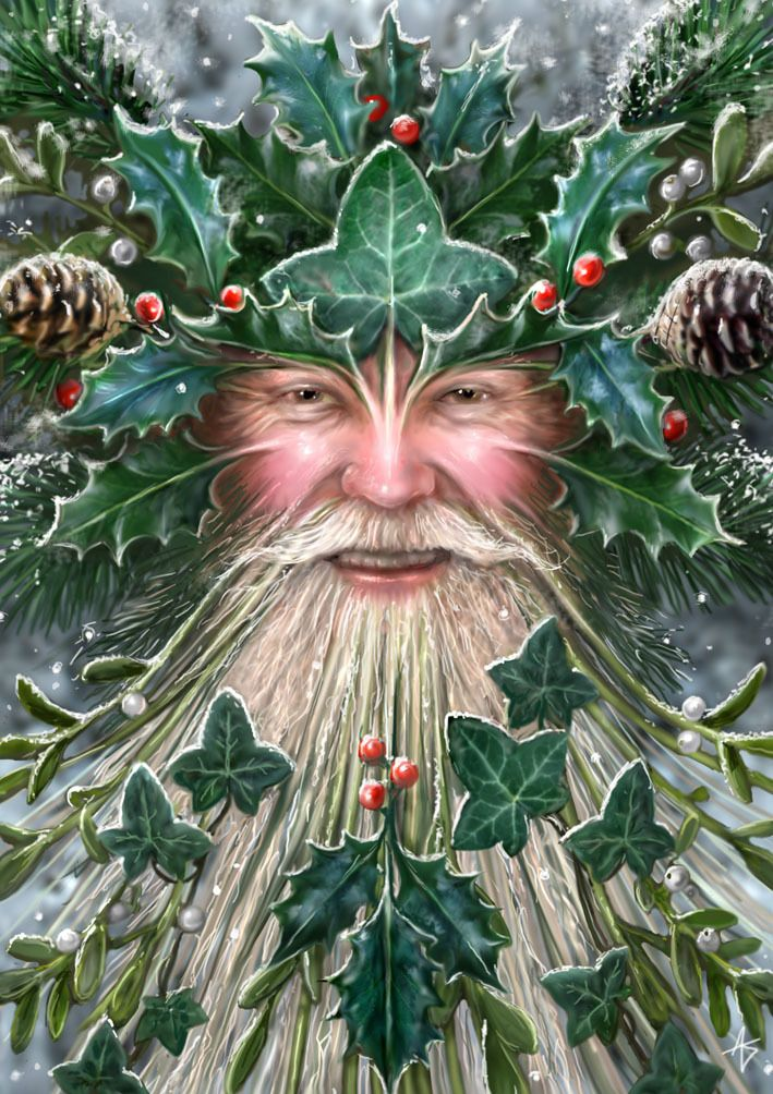 Spirit of Yule Greetings Card by Anne Stokes